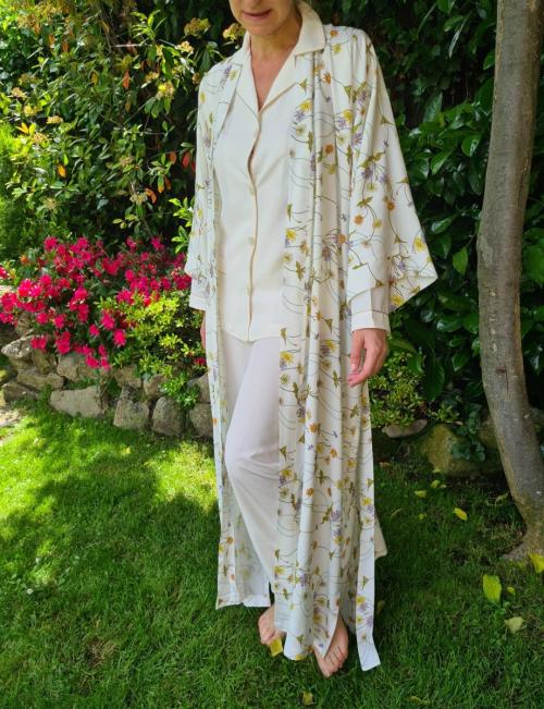 Kimono flores verdes y pijama Evros