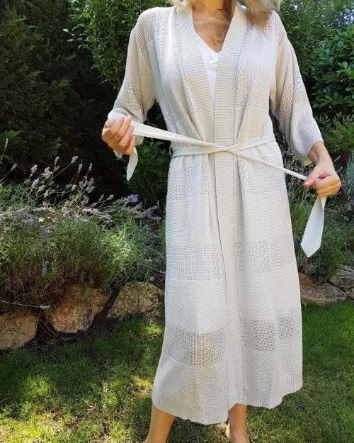 Kimono punto calado gris perla EN REPOSICION