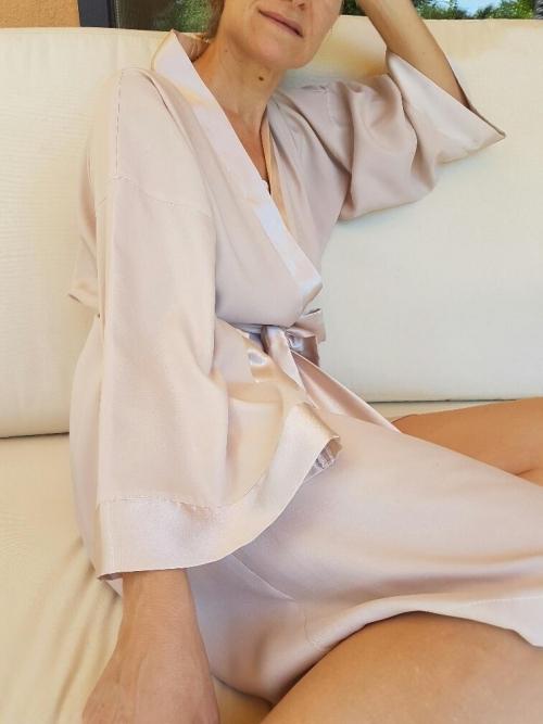 Kimono raso champagne